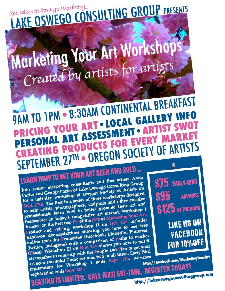 Marketing Your Art Workshop I Poster by Lake Oswego Consulting Group
