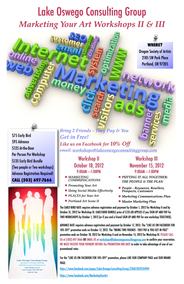Marketing Your Art Workshop II Poster ©2012 Lake Oswego Consulting Group