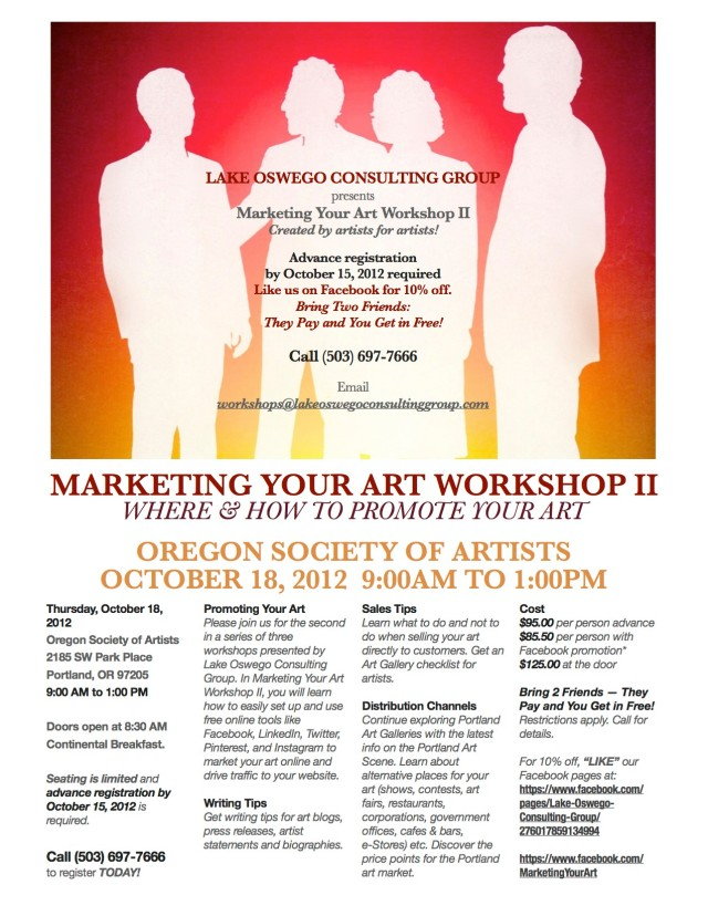 Marketing Your Art Workshop 2-OSA Poster
